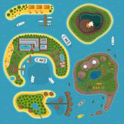 Island top view vector illustration Stock Illustration