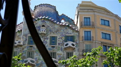 Low angle shot of Casa Batllo in Barcelona Stock Footage