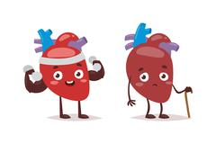 Strong and ill hearts vector illustration - stock illustration