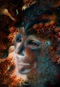 Blue fairy man face portrait with gentle abstract structures - stock illustration
