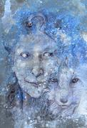 Wise shamanic woman forest goddess, blue winter version Stock Illustration