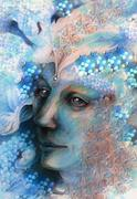 elven man face with pearls and ornaments, drawing - stock illustration