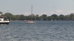 Toronto island ferry boat crowded with people and tourists Stock Footage