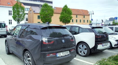 BMW electric car parked in the street in Stavanger Stock Footage