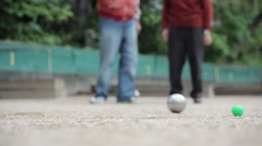 Senior Men Playing Petanque In Paris, France Stock Footage