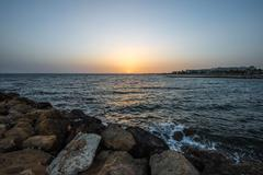Beautiful sunset over the Mediterranean Sea, Cyprus - stock photo