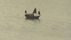 Chinese traditional sailing junk Stock Footage