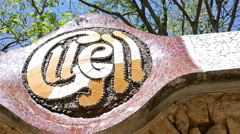 Details with Ceramic tiles in Antoni Gaudi's Park Guell, Barcelona, Spain - stock footage