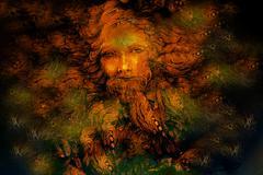 golden forest fairy guardian spirit, detailed illustration collage - stock illustration