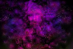 violett purple fairy dwarf spirit, colorful illustration - stock illustration