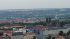 Aerial view to the St. Vitus Cathedral Stock Footage