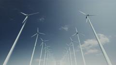 Seamless looping animation of wind turbines spinning 4k Stock Footage