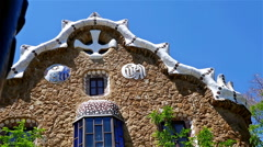 Detailed view of the houses in Antoni Gaudi's Park Guell, Barcelona, Spain Stock Footage