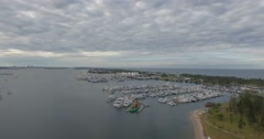 Aerial view of Southport Yacht Club and  marina Stock Footage