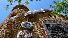 Details with Ceramic tiles in Antoni Gaudi's Park Guell, Barcelona, Spain Stock Footage