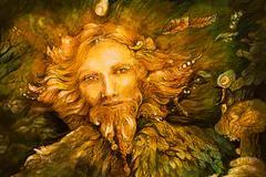 golden forest fairy guardian spirit, detailed illustration - stock illustration