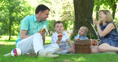 Family picnic in the park on the lawn Stock Footage