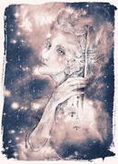 Beautiful drawing of elven fairy creature with tinker bells Stock Illustration