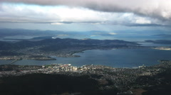 Stormy afternoon shot of hobart from mt wellington Stock Footage