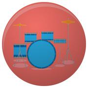 Drum set icon flat Stock Illustration