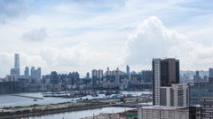 Timelapse Top View of Hong Kong Cityscape day whit cloud, skyline of city-Dan Stock Footage
