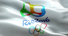 Flag with Rio 2016 Olympic Games waving in the wind only for editorial use Stock Footage