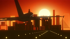 Sao Paolo Brazil Airplane Landing Skyline Golden Background - stock footage