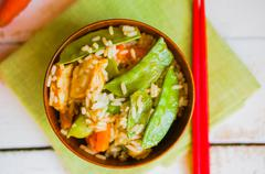 Asian Chicken With Rice And Vegetables Stock Photos
