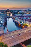 Sunset at the river Spree in Berlin - stock photo