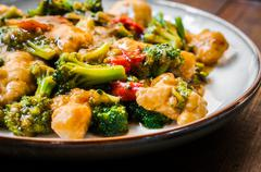Chicken Breasts In Soy Sauce And Stir-fry Vegetables Stock Photos