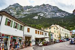 Riva del Garda, Italy - June 27, 2016: Landscapes, photos of city on lake - stock photo