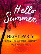 Hello Summer Beach Party Flyer. Piirros