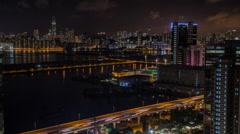 Timelapse Top View Of Hong Kong Modern Skyscrapers Night In Kowloon Bay-Dan Stock Footage