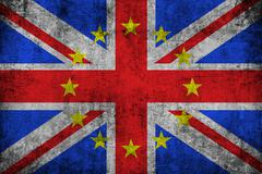 brexit grunge uk england great britain flag with european union EU yellow sta - stock illustration