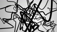 Random black and white strings abstract background Stock Footage
