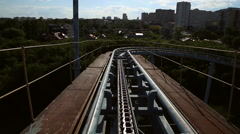 Rollercoaster train is moving - stock footage