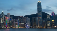 Timelapse Hong Kong City from Kowloon with ship in Victoria Harbour at night-Dan Stock Footage