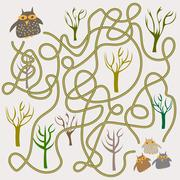 Funny owls labyrinth game for Preschool Children Stock Illustration