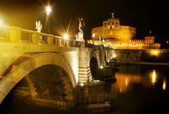 Bridge to castle Sant Angelo - stock photo