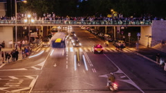 Night traffic of cars and people near the evening show singing fountains in - stock footage
