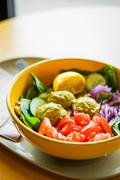 Protein Salad With Vegetables And Hummus - stock photo