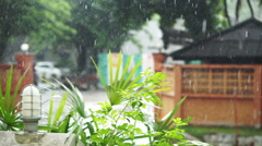 Tropical Rainfall in urban scene. Rainy season in hot climate country Stock Footage