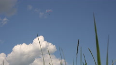 Paragliding.high Flying Glider in the Sky.shooting With Grass Level. Stock Footage