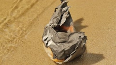 Burned Paper Ship Washed up on Shore Watery Surface Dreams Did Not Come True Stock Footage