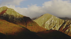 Horizontal panning. The mountains of the Italian Apennines covered by clouds Stock Footage