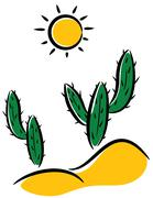 cactus in desert - stock illustration