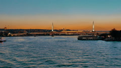 Halic Golden Horn Metro Bridge at Sunset Stock Footage