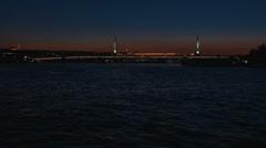 Halic Golden Horn Metro Bridge at Sunset Stock Footage