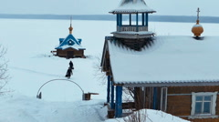 Small Chapel in Vazheozersky Monastery in Karelia, Russia Stock Footage