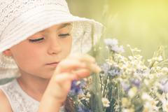 Peaceful Summer Girl Portrait. Caucasian Girl Exploring Summer Meadows. Kuvituskuvat